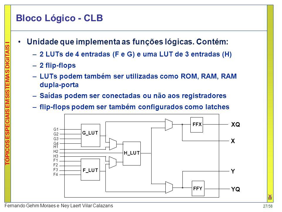 Bloco Lógico - CLB Unidade que implementa as funções lógicas. Contém:
