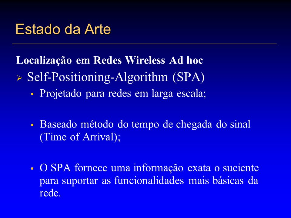 Estado da Arte Self-Positioning-Algorithm (SPA)