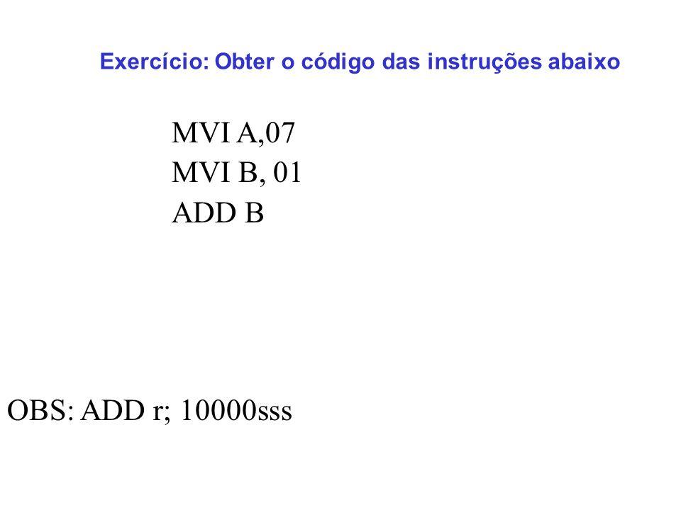 Exercício: Obter o código das instruções abaixo