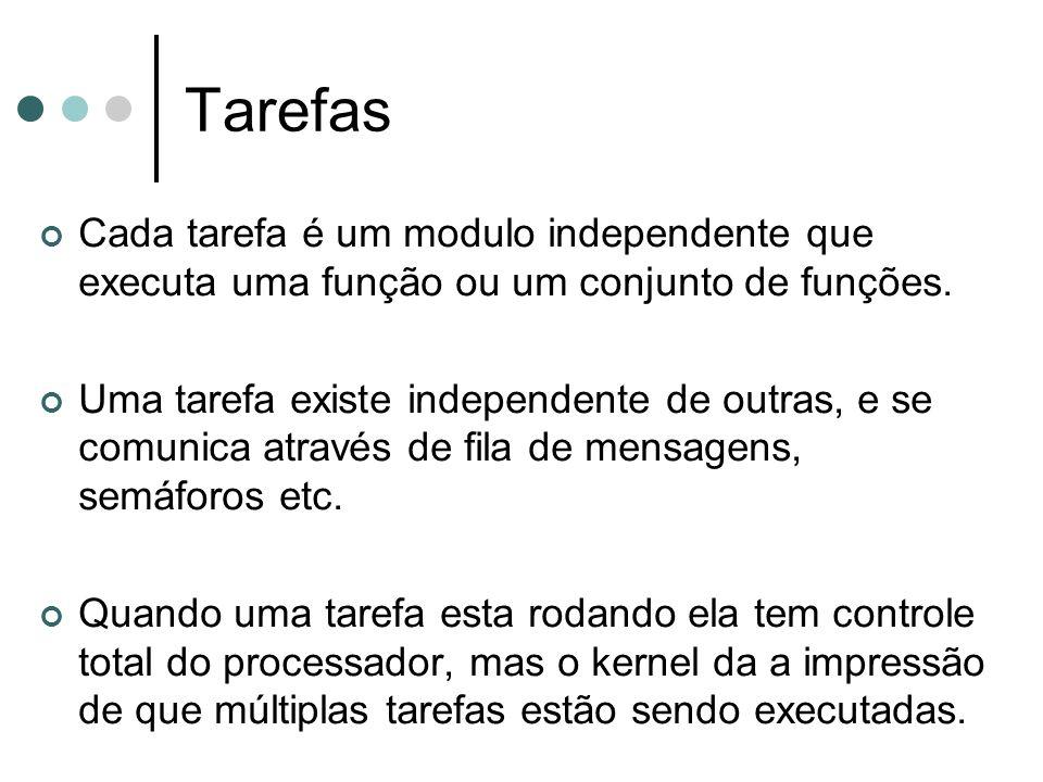 Tarefas Cada tarefa é um modulo independente que executa uma função ou um conjunto de funções.