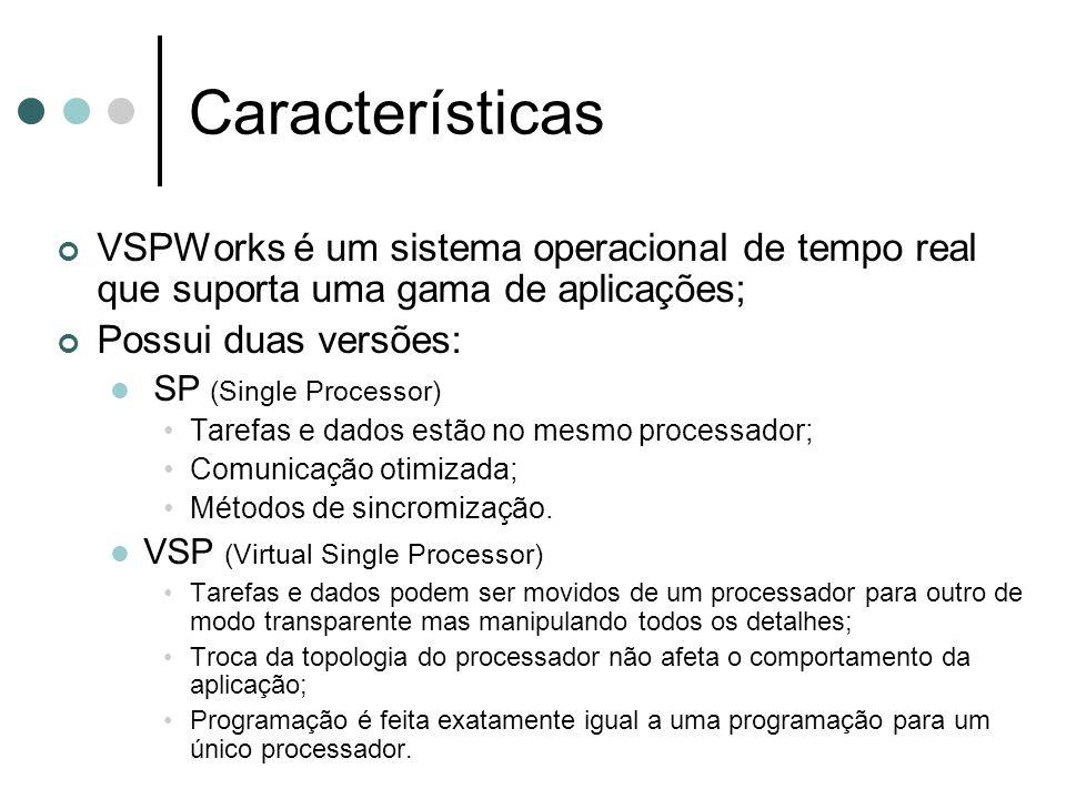 Características VSPWorks é um sistema operacional de tempo real que suporta uma gama de aplicações;