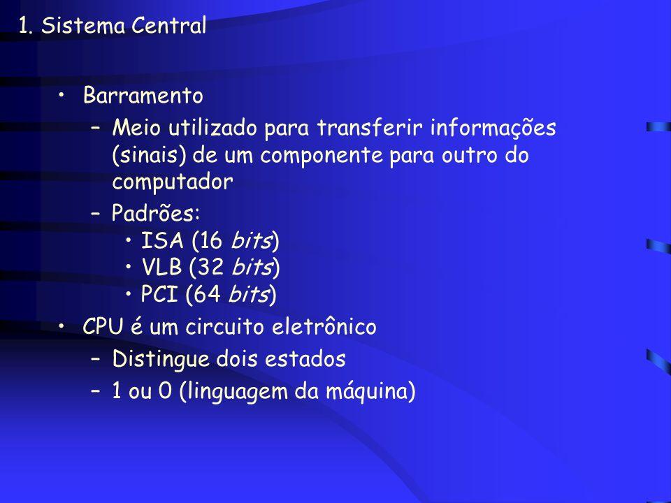 1. Sistema Central Barramento. Meio utilizado para transferir informações (sinais) de um componente para outro do computador.