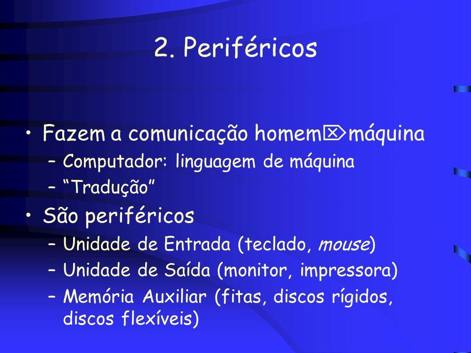 2. Periféricos Fazem a comunicação homemmáquina São periféricos