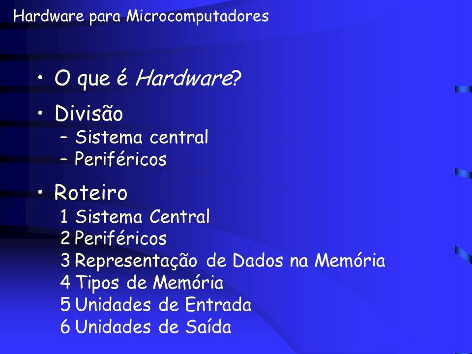 O que é Hardware Divisão Roteiro Sistema central Periféricos