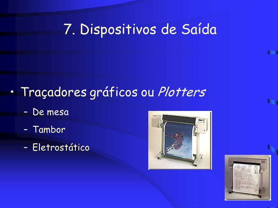7. Dispositivos de Saída Traçadores gráficos ou Plotters De mesa