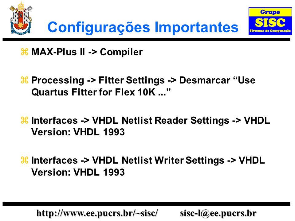 Configurações Importantes
