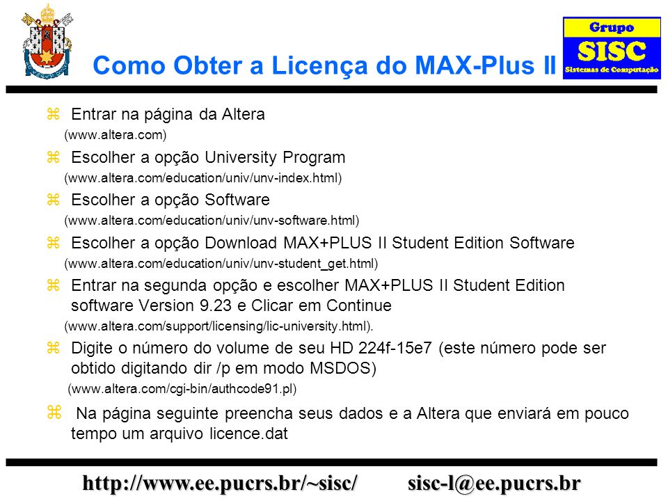 Como Obter a Licença do MAX-Plus II