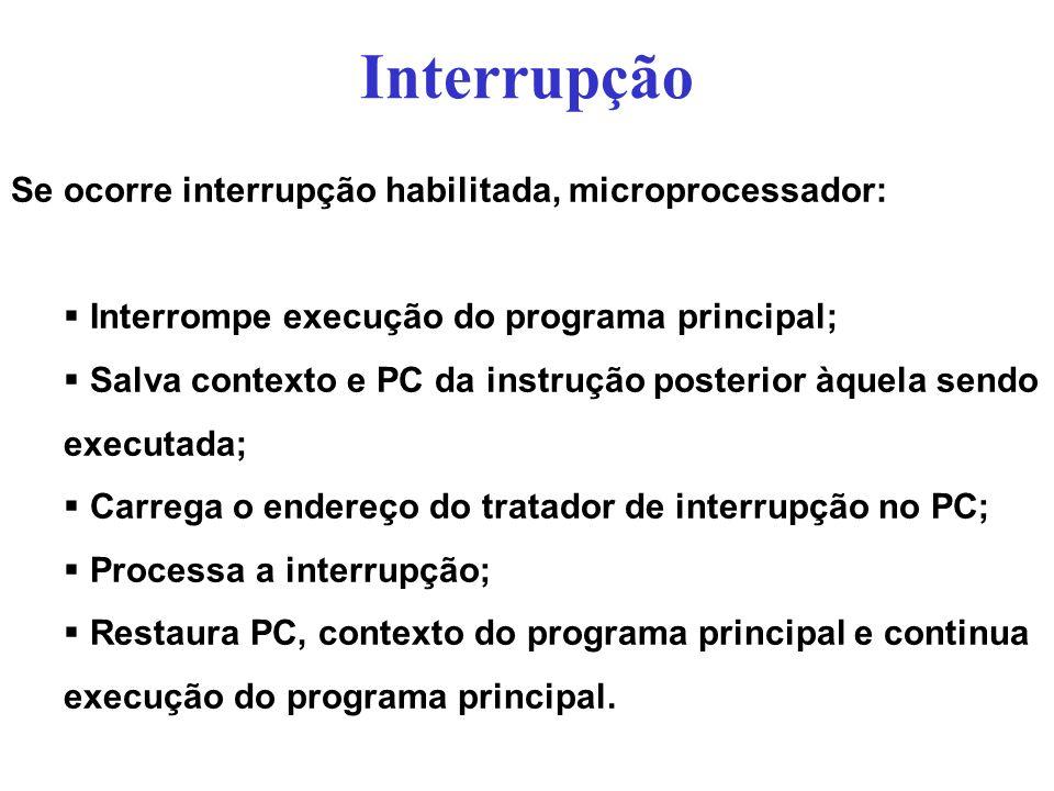 Interrupção Se ocorre interrupção habilitada, microprocessador: