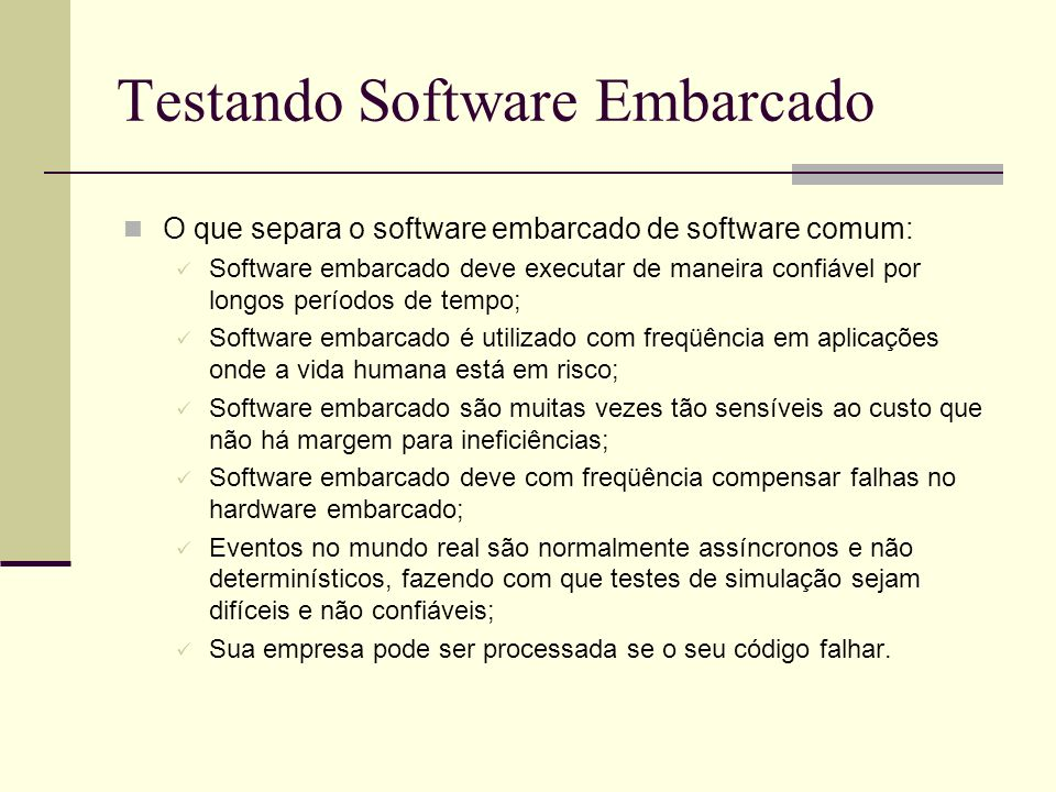 Testando Software Embarcado