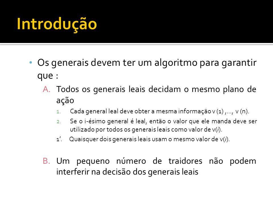 Introdução Os generais devem ter um algoritmo para garantir que :