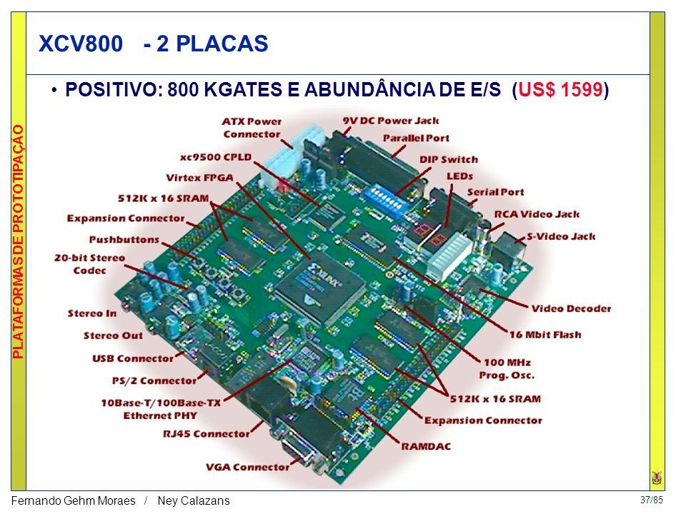 XCV800 - 2 PLACAS POSITIVO: 800 KGATES E ABUNDÂNCIA DE E/S (US$ 1599)
