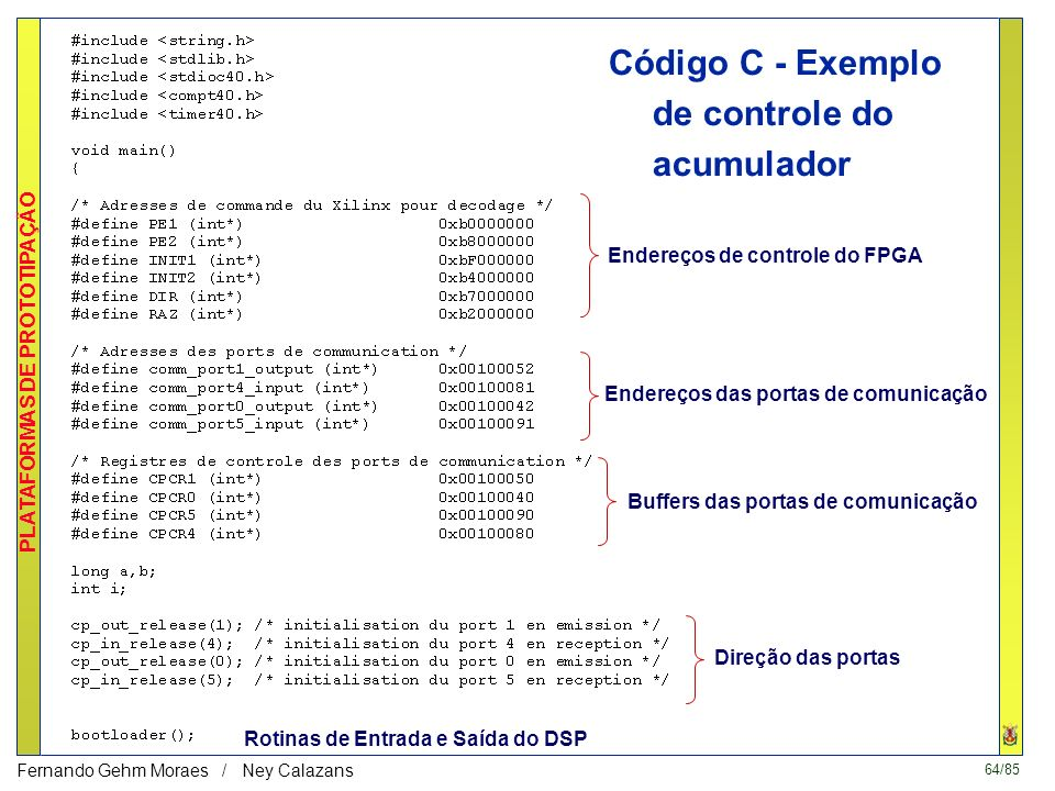 Código C - Exemplo de controle do acumulador
