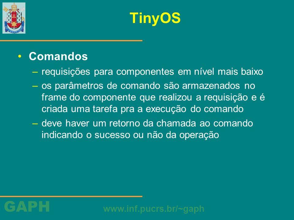 TinyOS Comandos requisições para componentes em nível mais baixo