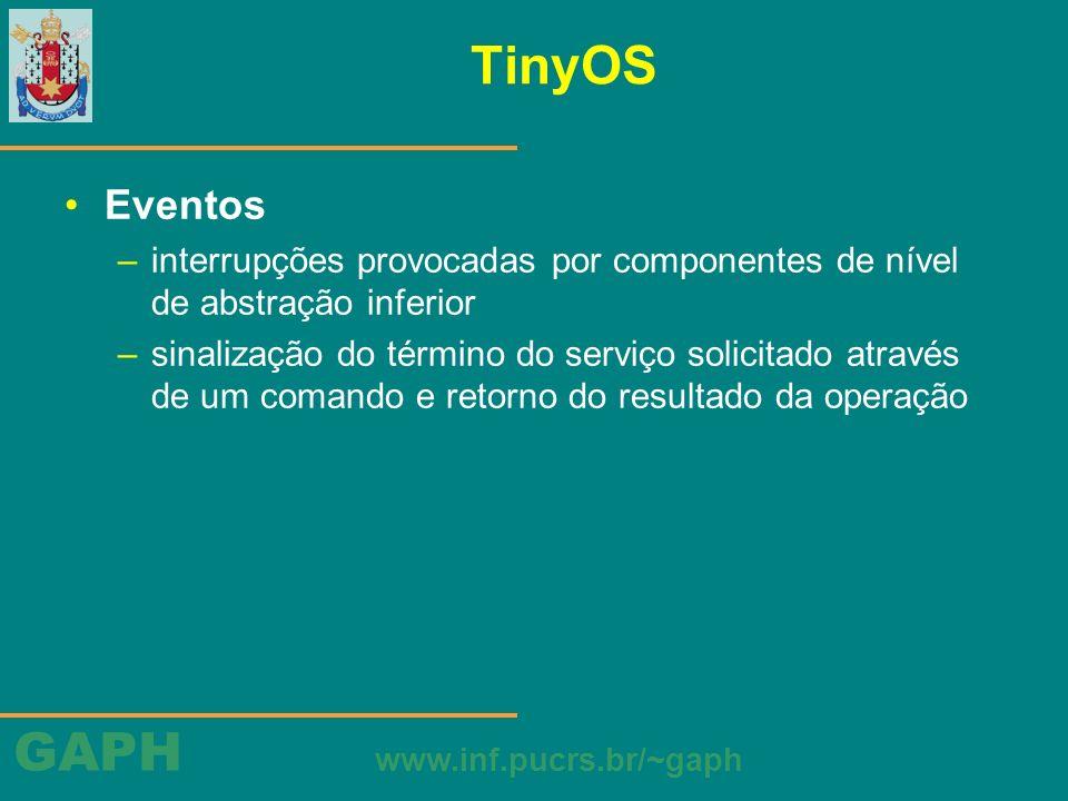 TinyOS Eventos. interrupções provocadas por componentes de nível de abstração inferior.