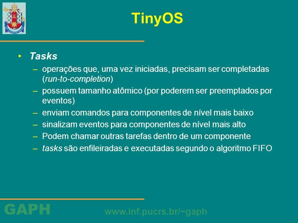 TinyOS Tasks. operações que, uma vez iniciadas, precisam ser completadas (run-to-completion)