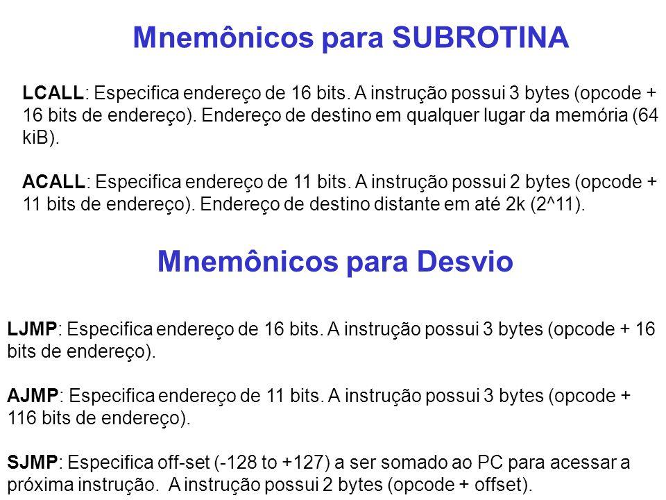 Mnemônicos para SUBROTINA Mnemônicos para Desvio