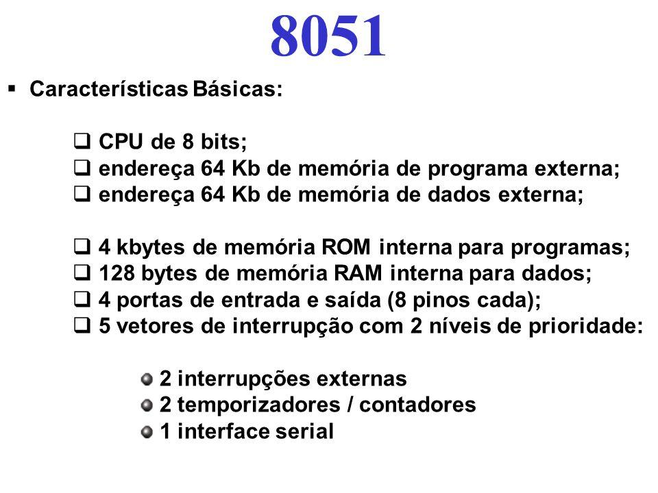 8051 Características Básicas: CPU de 8 bits;