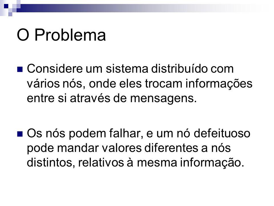 O ProblemaConsidere um sistema distribuído com vários nós, onde eles trocam informações entre si através de mensagens.