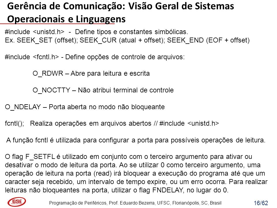 Gerência de Comunicação: Visão Geral de Sistemas Operacionais e Linguagens