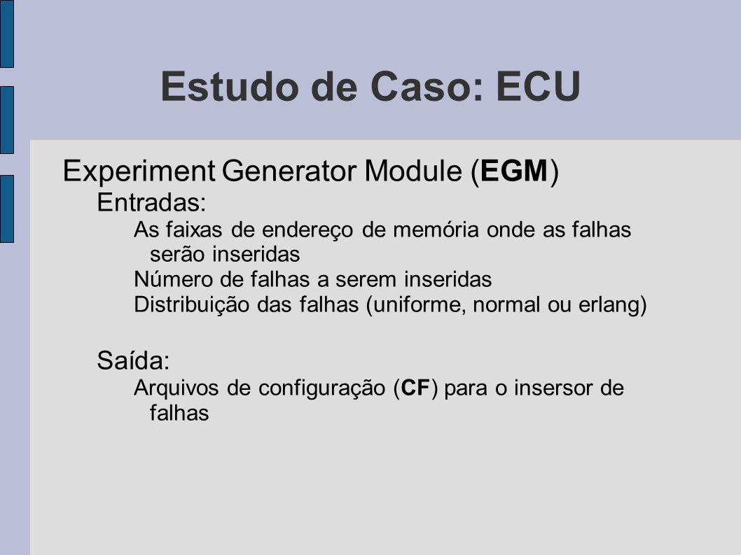 Estudo de Caso: ECU Experiment Generator Module (EGM) Entradas:
