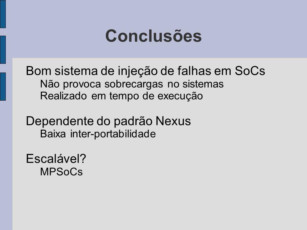Conclusões Bom sistema de injeção de falhas em SoCs