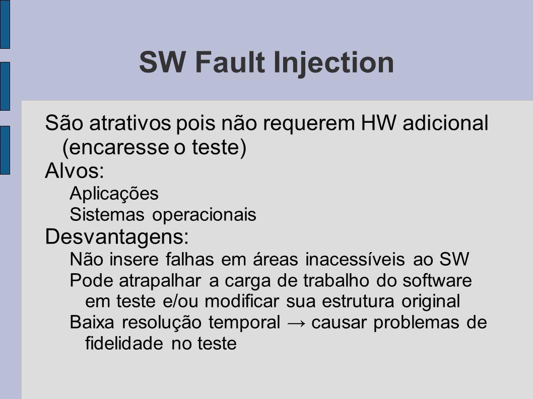SW Fault Injection São atrativos pois não requerem HW adicional (encaresse o teste) Alvos: Aplicações.