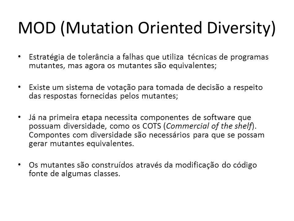 MOD (Mutation Oriented Diversity)