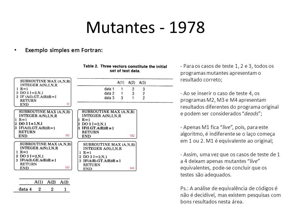 Mutantes - 1978 Exemplo simples em Fortran: