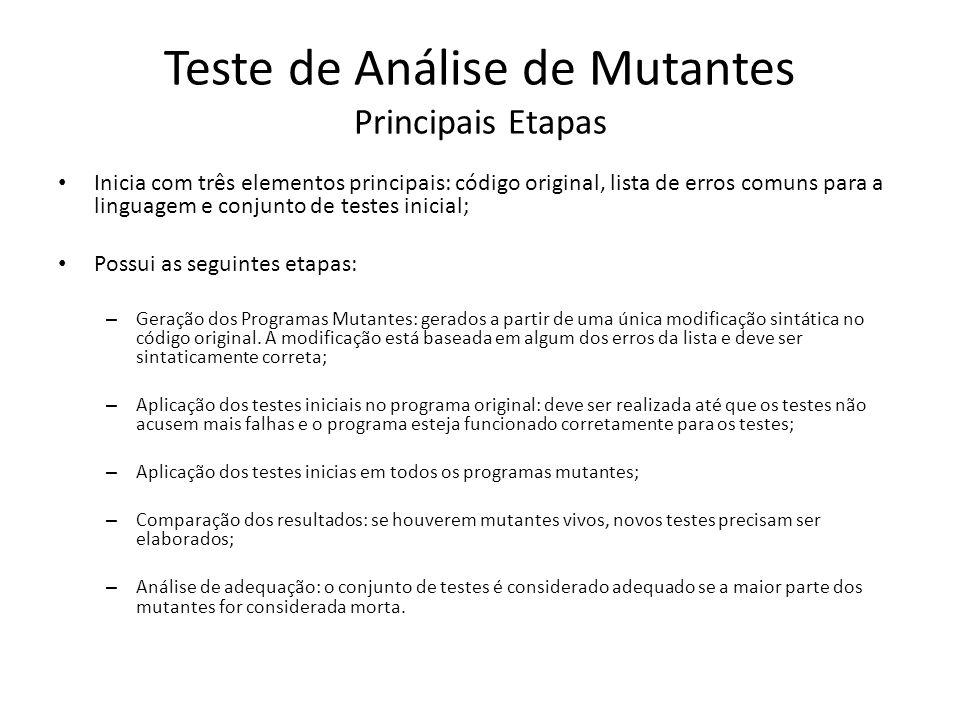 Teste de Análise de Mutantes Principais Etapas