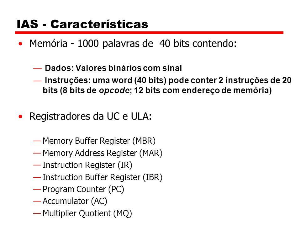 IAS - Características Memória - 1000 palavras de 40 bits contendo: