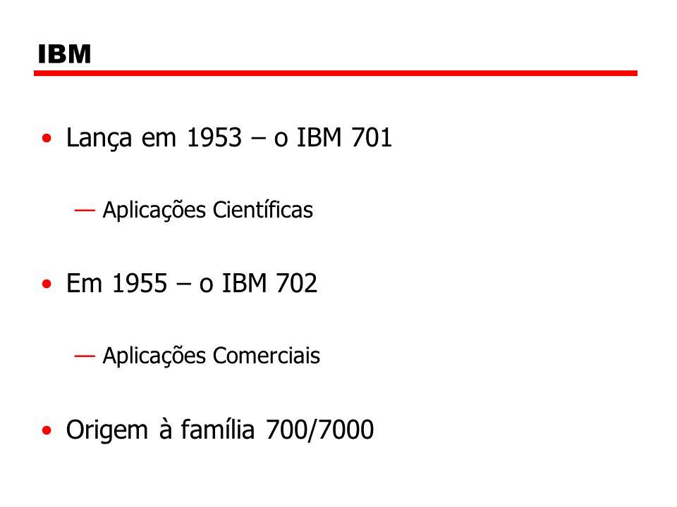 IBM Lança em 1953 – o IBM 701 Em 1955 – o IBM 702