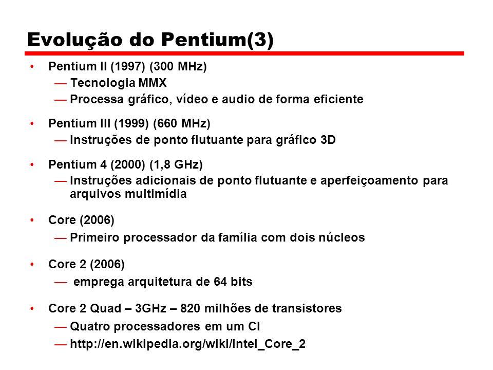 Evolução do Pentium(3) Pentium II (1997) (300 MHz) Tecnologia MMX