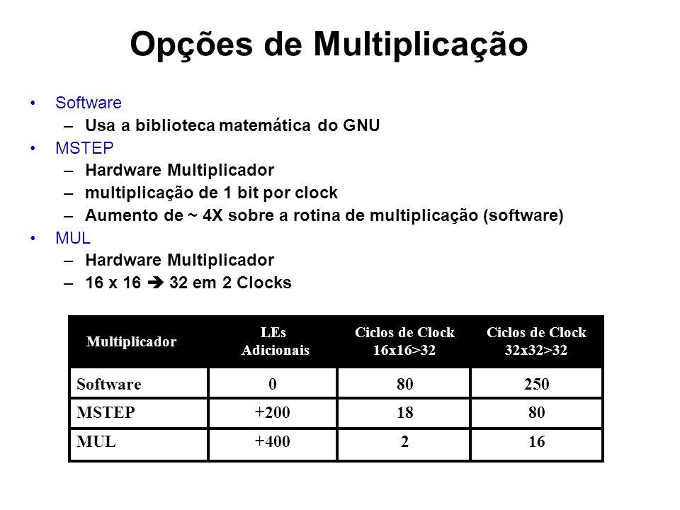 Opções de Multiplicação