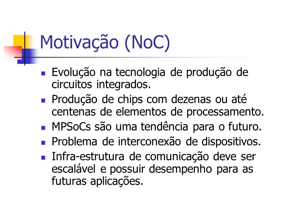 Motivação (NoC) Evolução na tecnologia de produção de circuitos integrados.