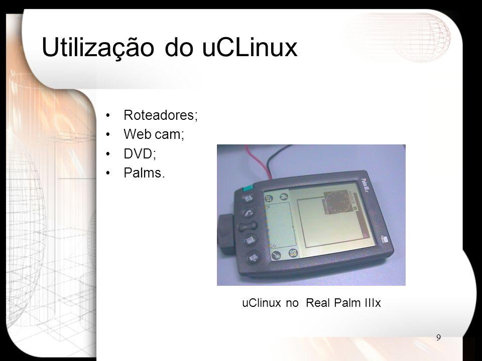 Utilização do uCLinux Roteadores; Web cam; DVD; Palms.