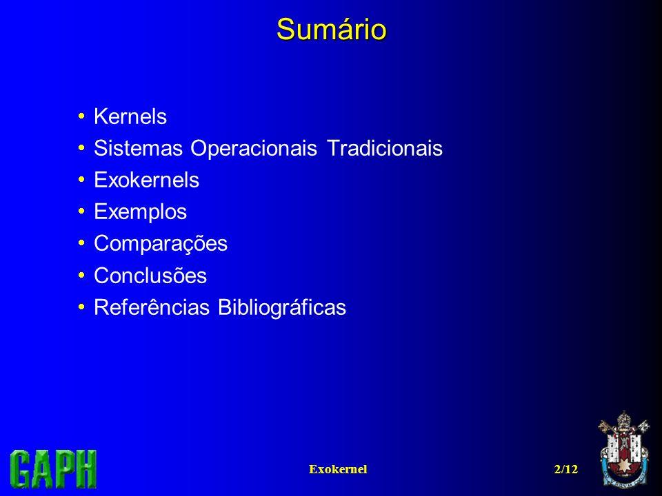Sumário Kernels Sistemas Operacionais Tradicionais Exokernels Exemplos