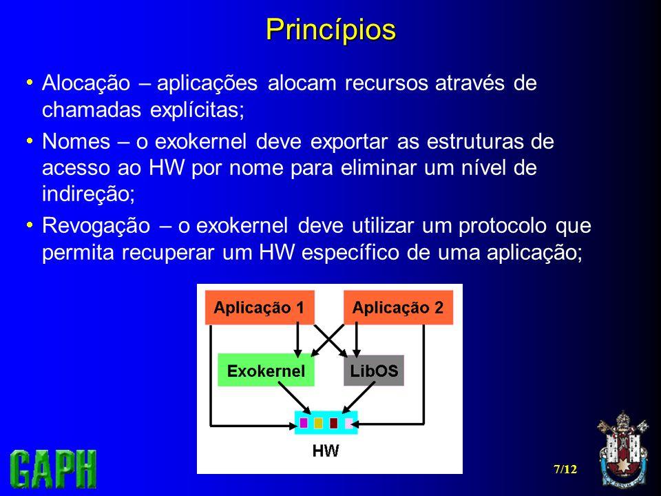 Princípios Alocação – aplicações alocam recursos através de chamadas explícitas;