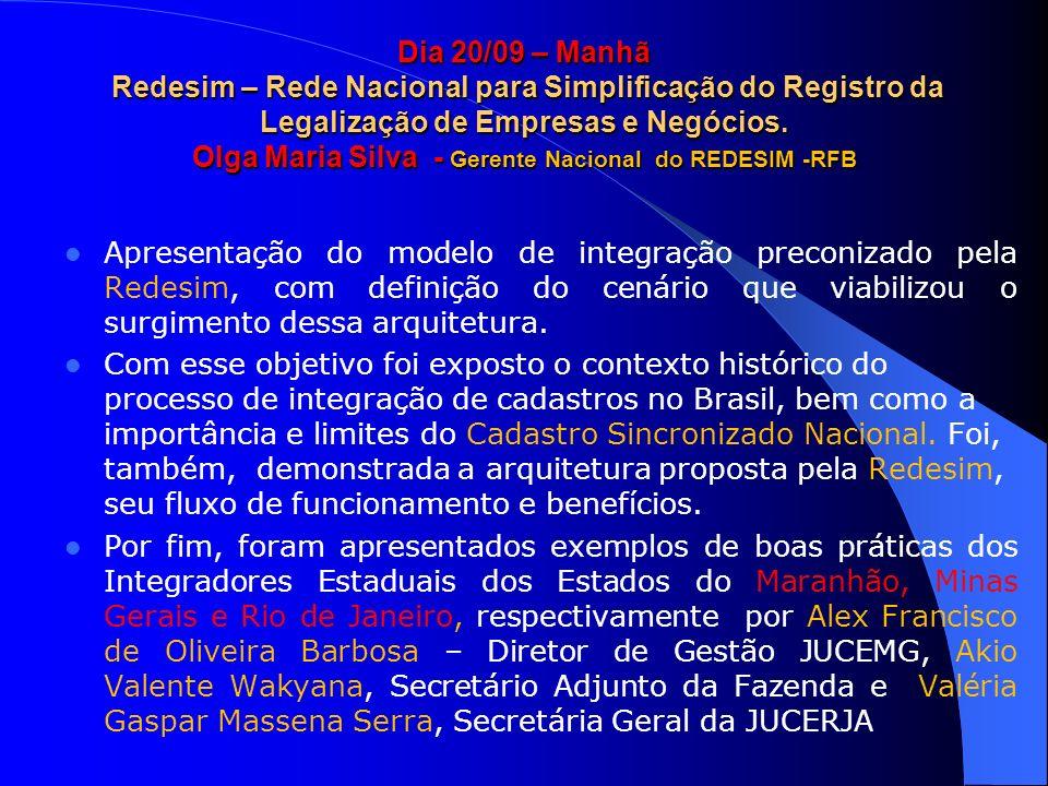 Dia 20/09 – Manhã Redesim – Rede Nacional para Simplificação do Registro da Legalização de Empresas e Negócios. Olga Maria Silva - Gerente Nacional do REDESIM -RFB
