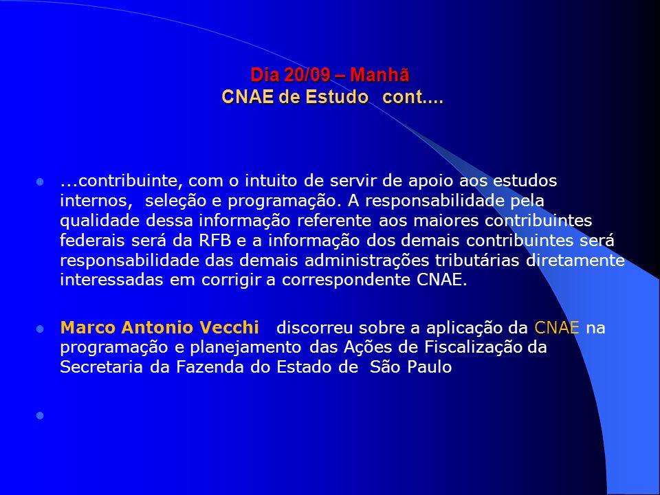Dia 20/09 – Manhã CNAE de Estudo cont....