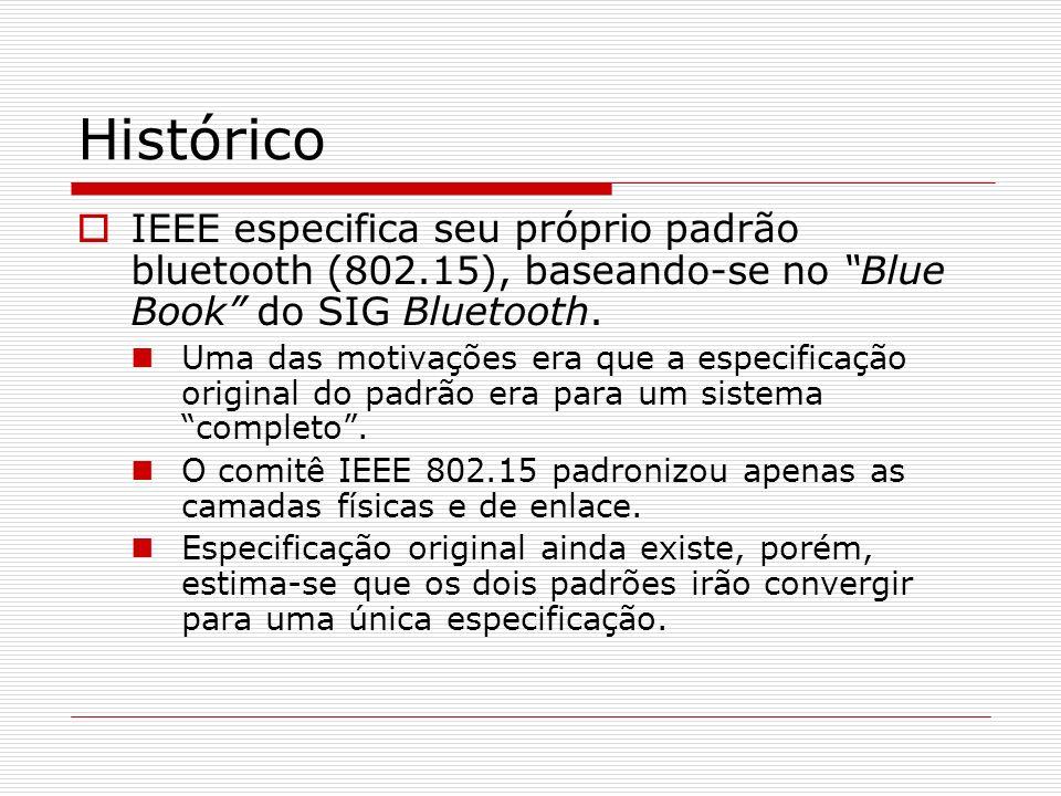 Histórico IEEE especifica seu próprio padrão bluetooth (802.15), baseando-se no Blue Book do SIG Bluetooth.