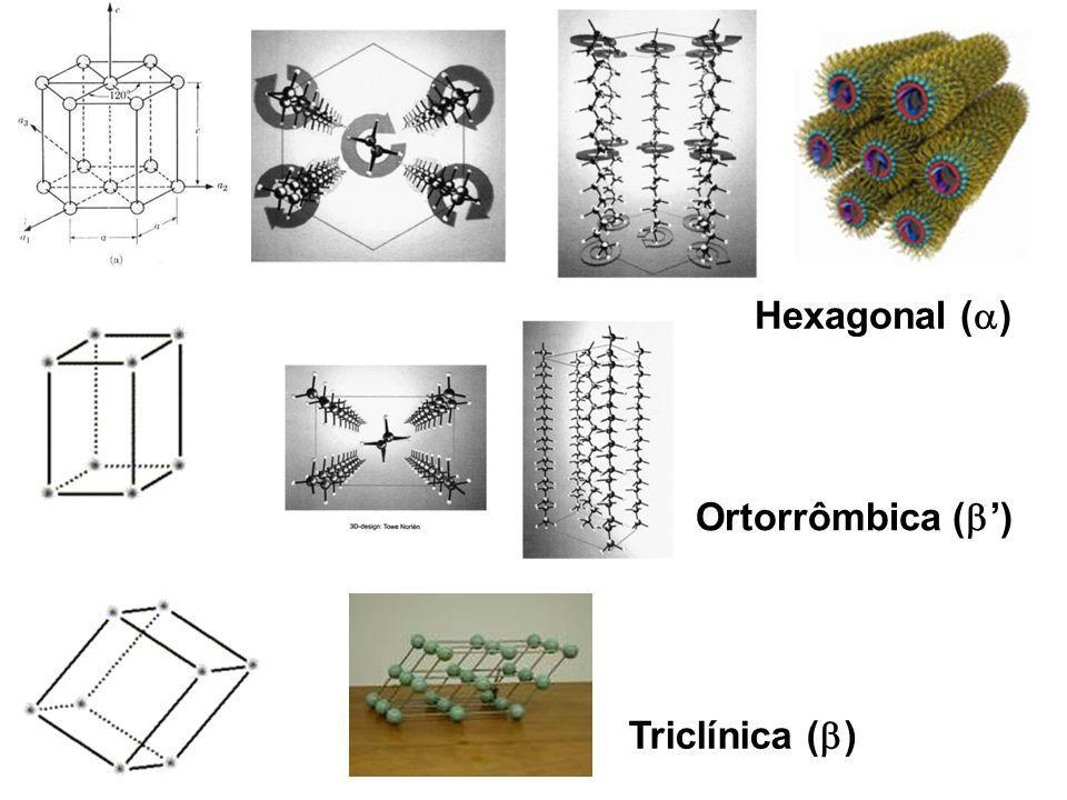 Hexagonal () Ortorrômbica (') Triclínica ()