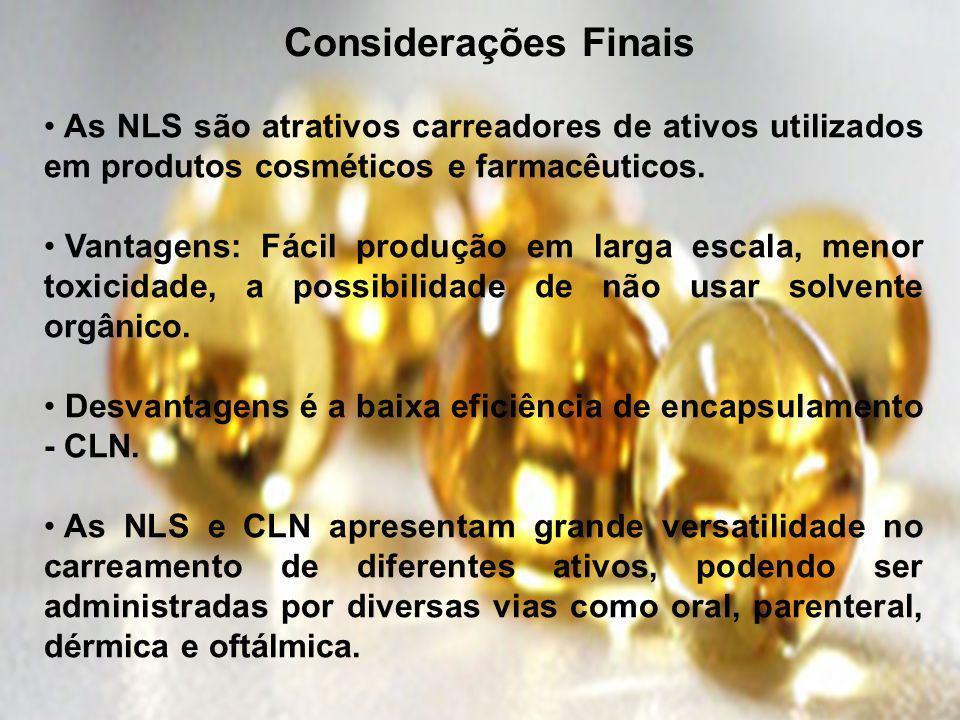 Considerações Finais As NLS são atrativos carreadores de ativos utilizados em produtos cosméticos e farmacêuticos.