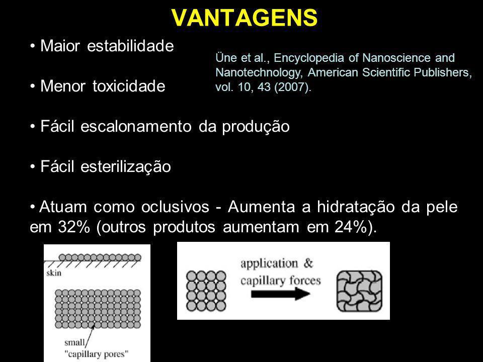 VANTAGENS Maior estabilidade Menor toxicidade