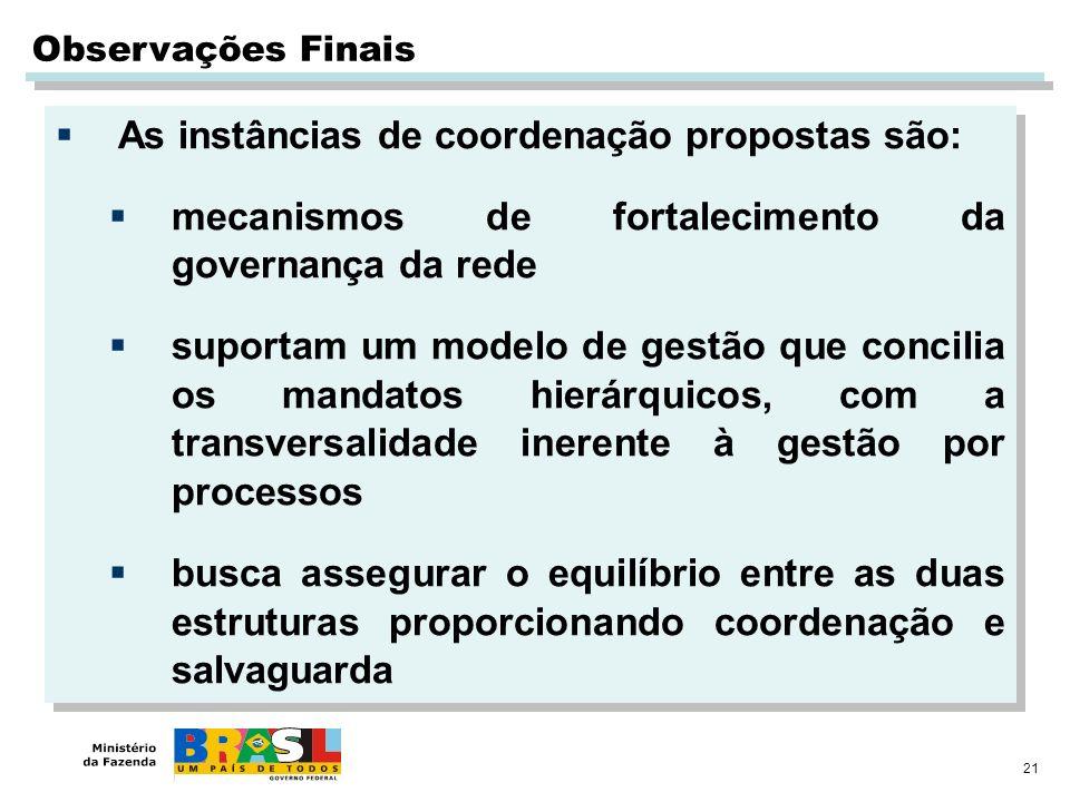 As instâncias de coordenação propostas são: