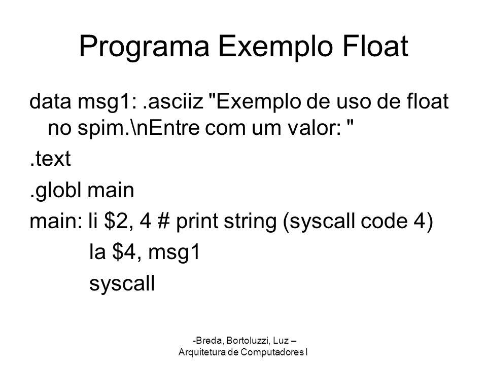 Programa Exemplo Float