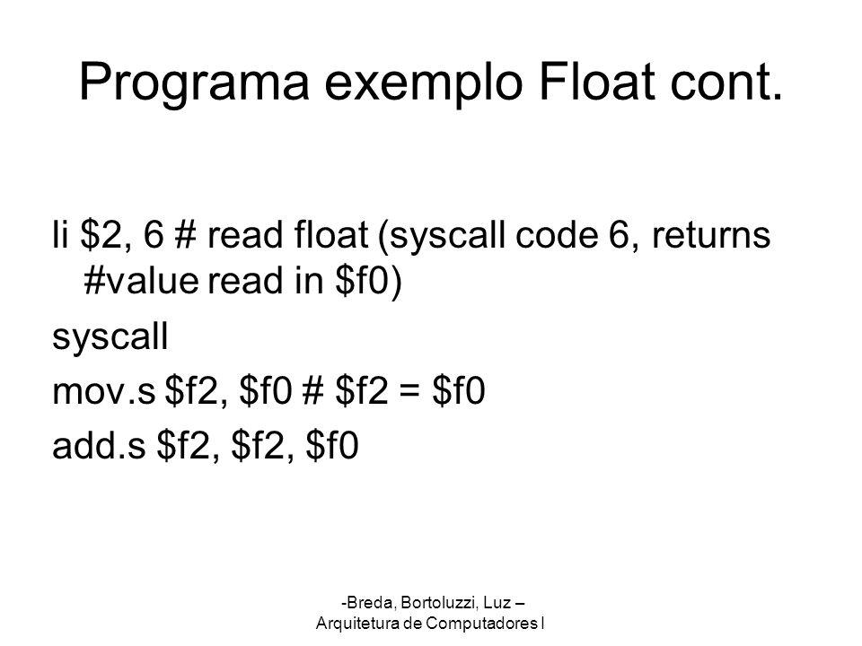 Programa exemplo Float cont.