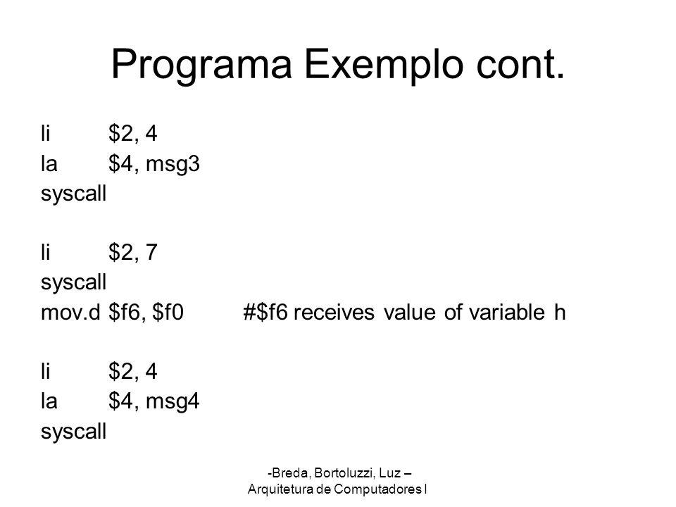 Programa Exemplo cont. li $2, 4 la $4, msg3 syscall li $2, 7