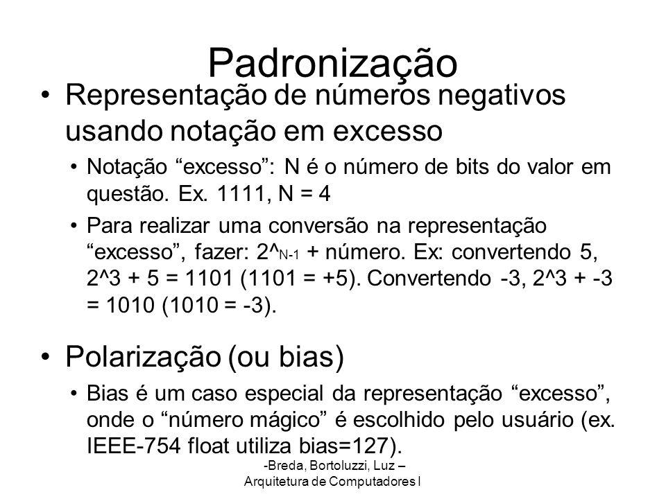 Padronização Representação de números negativos usando notação em excesso.