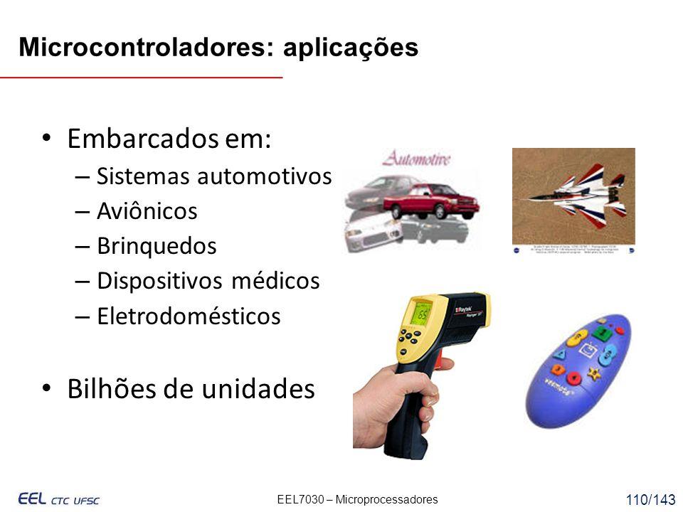 Embarcados em: Bilhões de unidades Microcontroladores: aplicações