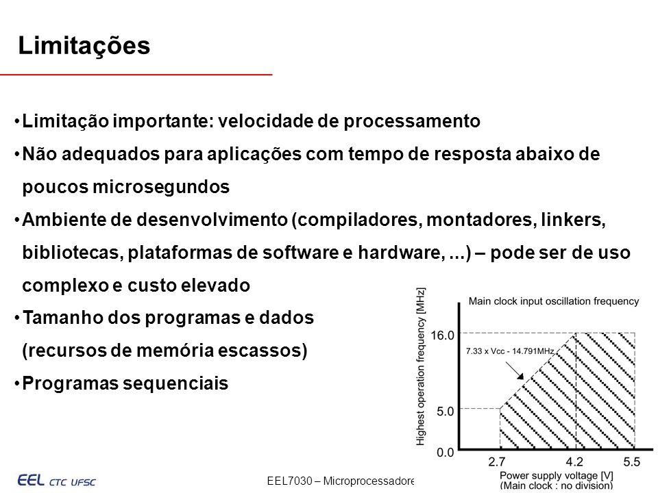 Limitações Limitação importante: velocidade de processamento